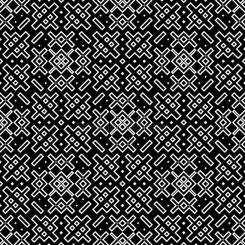 Sömlös modellbakgrund i svartvitt Tappning och retro abstrakt dekorativ design Enkel lägenhet arkivfoto