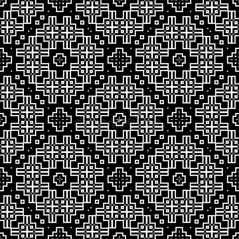 Sömlös modellbakgrund i svartvitt Tappning och retro abstrakt dekorativ design Enkel lägenhet royaltyfri foto