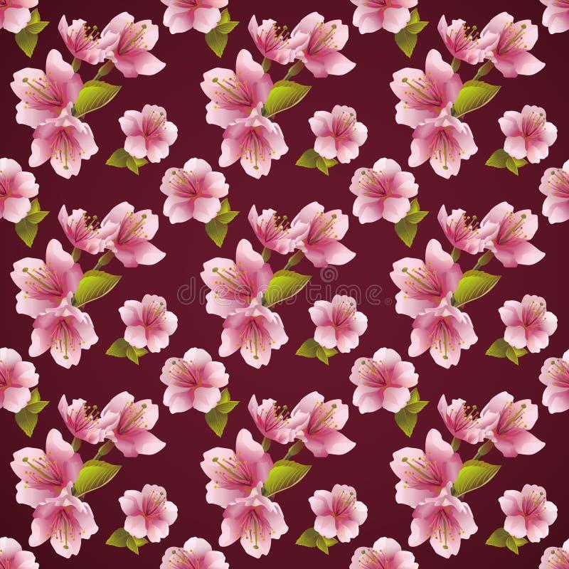 Sömlös modellbakgrund med den körsbärsröda blomningen royaltyfri illustrationer