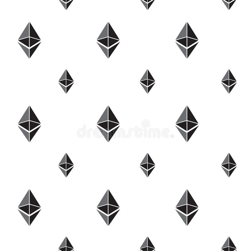 Sömlös modellbakgrund med ethereumtecken stock illustrationer