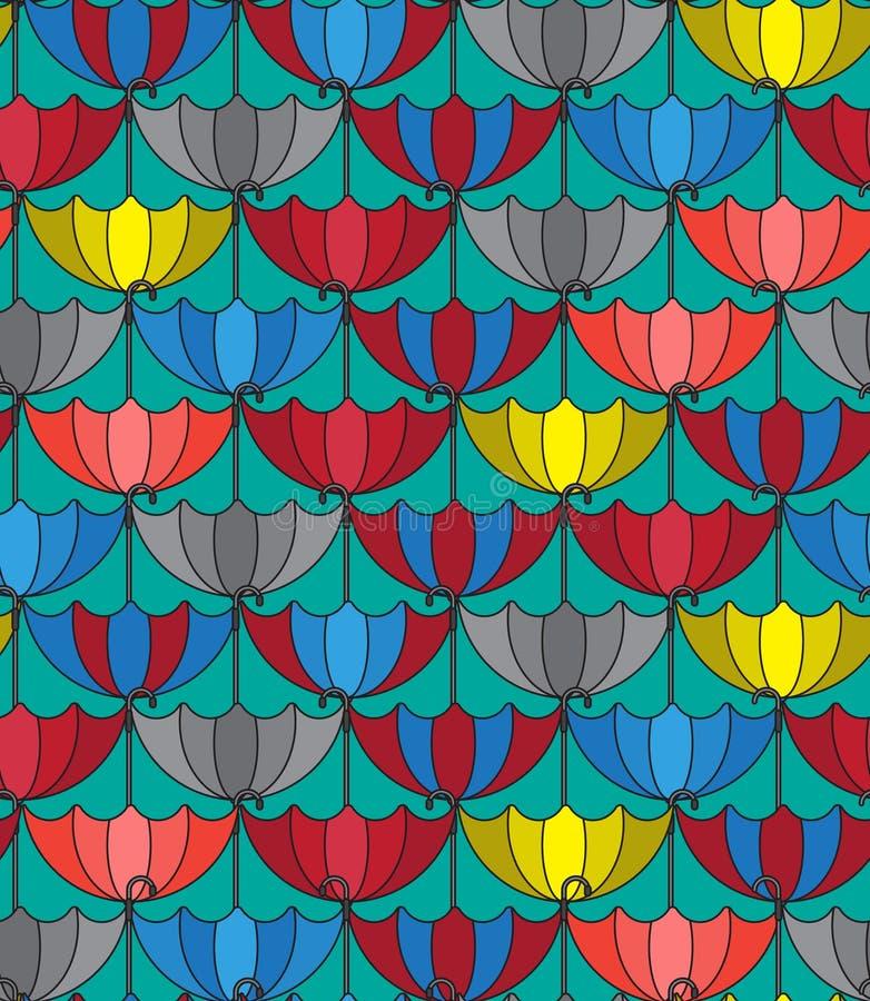 Sömlös modellbakgrund med retro paraplyer som upprepar royaltyfri illustrationer