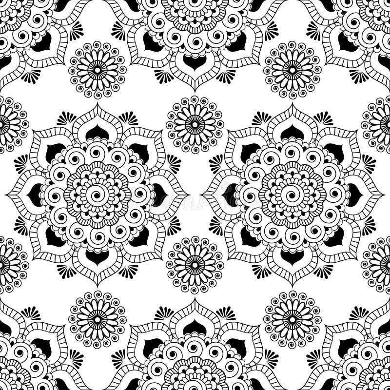Sömlös modellbakgrund med svartvit mehndihenna snör åt butagarneringobjekt i indisk stil stock illustrationer
