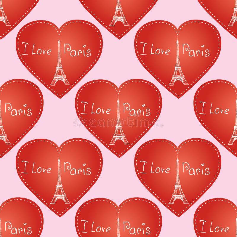 Sömlös modellbakgrundstextur Paris Frankrike Eiffeltorn royaltyfri illustrationer