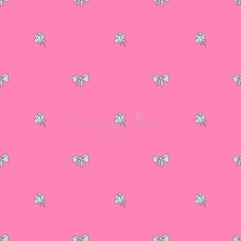 Sömlös modellbowtie och rosor i pastellfärger stock illustrationer