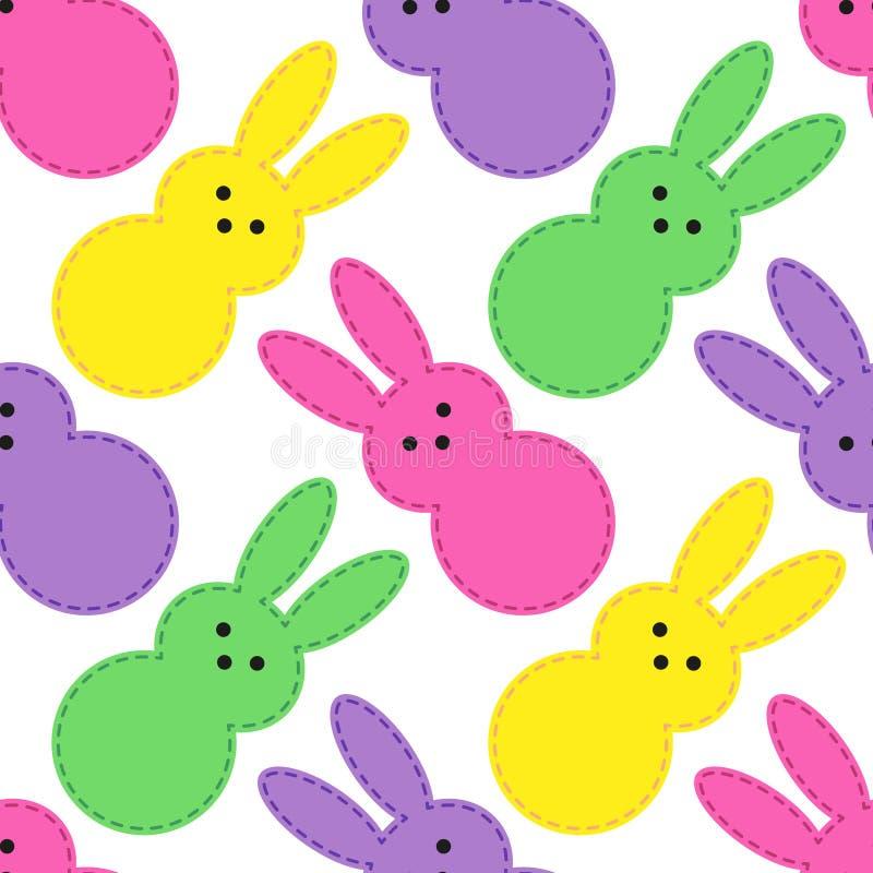 Sömlös modelldesign för gullig påsk med roliga tecknad filmtecken av kaniner vektor illustrationer