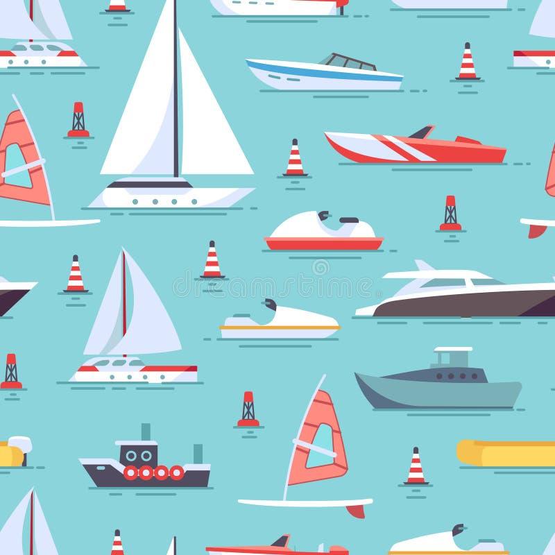 Sömlös modelldesign för segelbåtar och för fartyg royaltyfri illustrationer