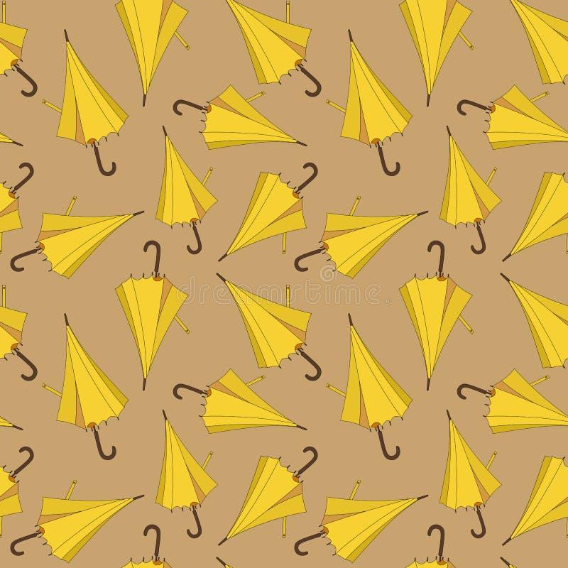 Sömlös modelldesign med gula strandparaplyer vektor illustrationer