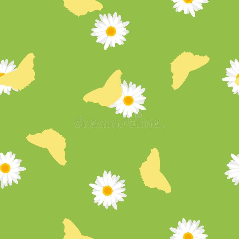 Sömlös modellgräsplanäng, gul fjäril och vit tusensköna vektor illustrationer