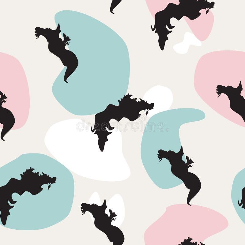 Sömlös modellhavsdrake på färgrika fläckar, vektor eps 10 royaltyfri illustrationer
