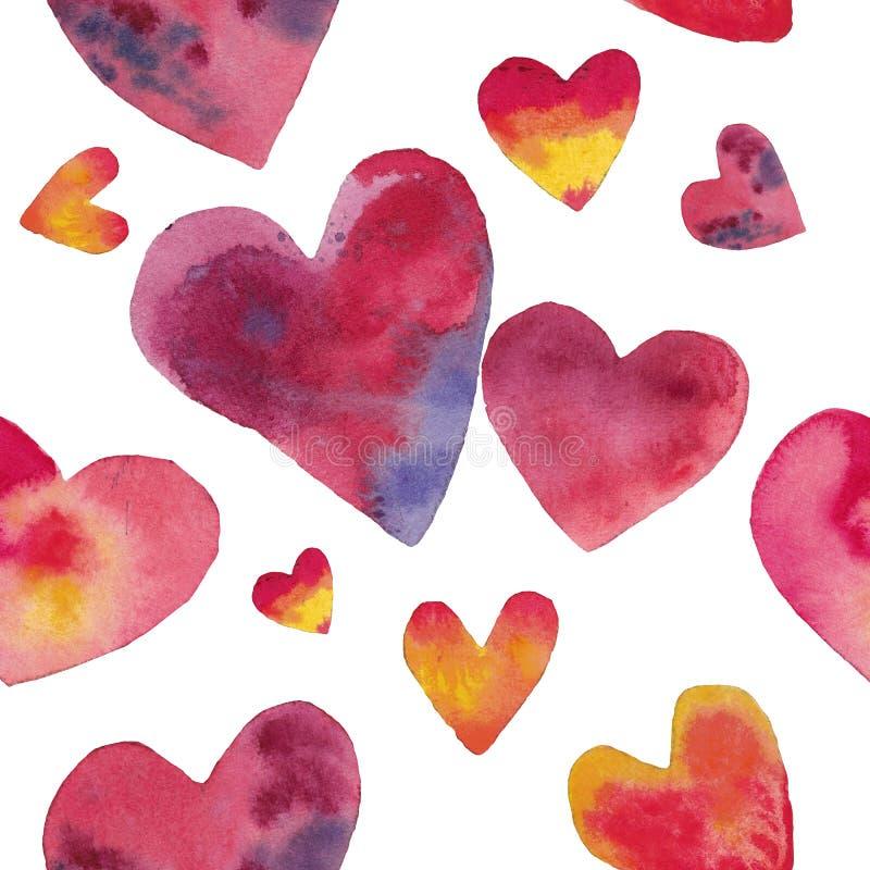 Sömlös modellhjärta för vattenfärg till hjärta vektor illustrationer