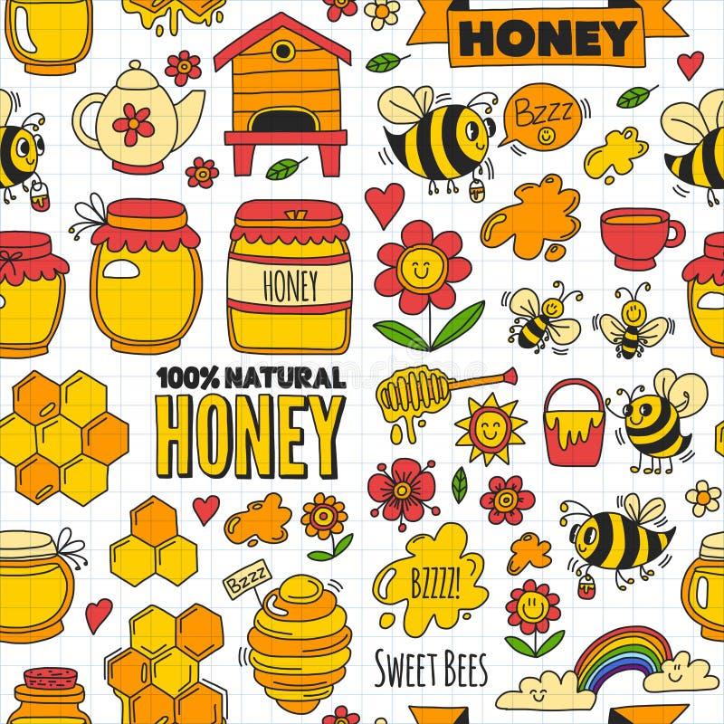 Sömlös modellhonungmarknad, basar, ganska klotterbilder för honung av bin vektor illustrationer