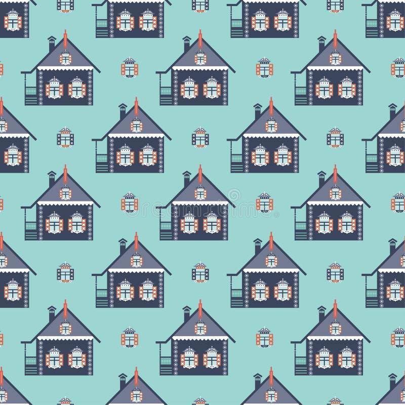 Sömlös modellizba för ryskt coutry hus stock illustrationer