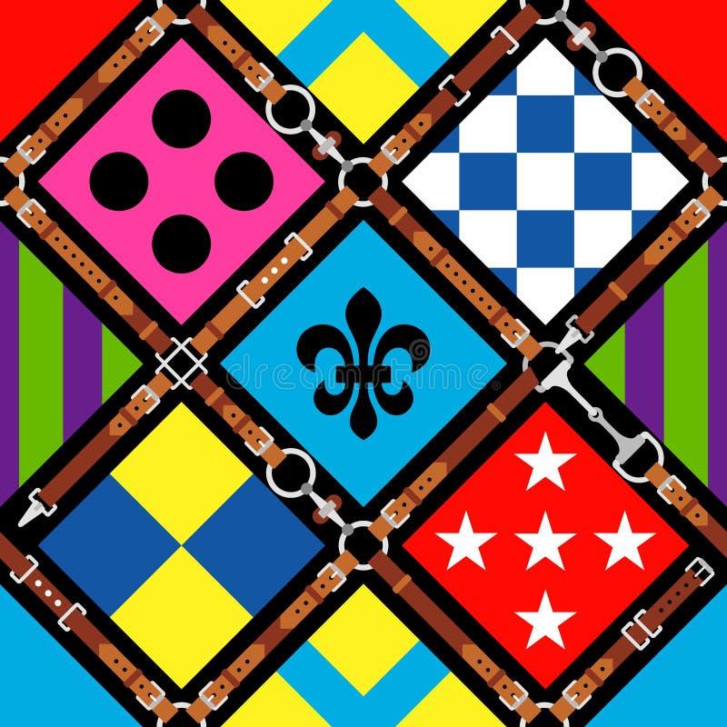 Sömlös modelljockeylikformig planl?gg traditionellt silk Sele tygel, sele, bälte nordlig pyatigorsk t?vlings- russia f?r caucasus royaltyfri illustrationer