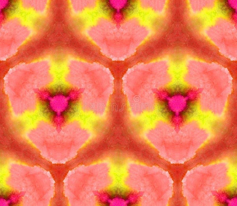 Sömlös modellkalejdoskop för vattenfärg från texturen av ljus, orange ingefära för rena färger royaltyfri illustrationer