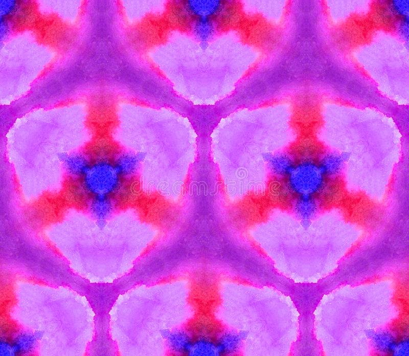 Sömlös modellkalejdoskop för vattenfärg från texturen av ljus, violetta rena färger stock illustrationer