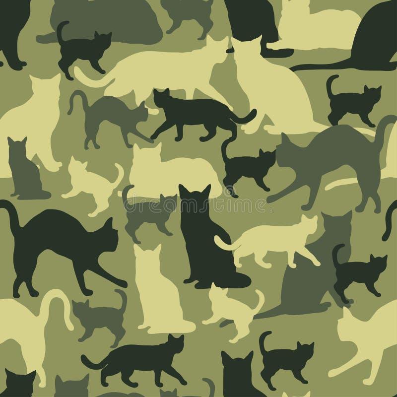 Sömlös modellkattkamouflage royaltyfri illustrationer
