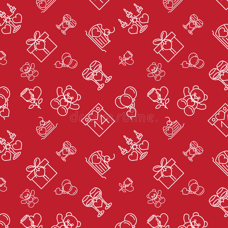 Sömlös modelllinje mörka symboler för valentin royaltyfri illustrationer