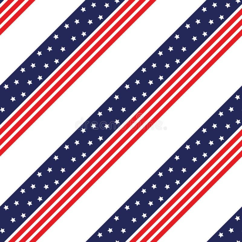 Sömlös modellmedborgareUSA flagga med röda bandstjärnor som är blåa och Modell som är passande för affischer, vykort, tyg eller i vektor illustrationer