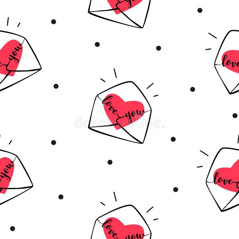 Sömlös modellprick med kuvert och hjärtor Räkning för gåvainpackning och textil på dag för valentin` s stock illustrationer