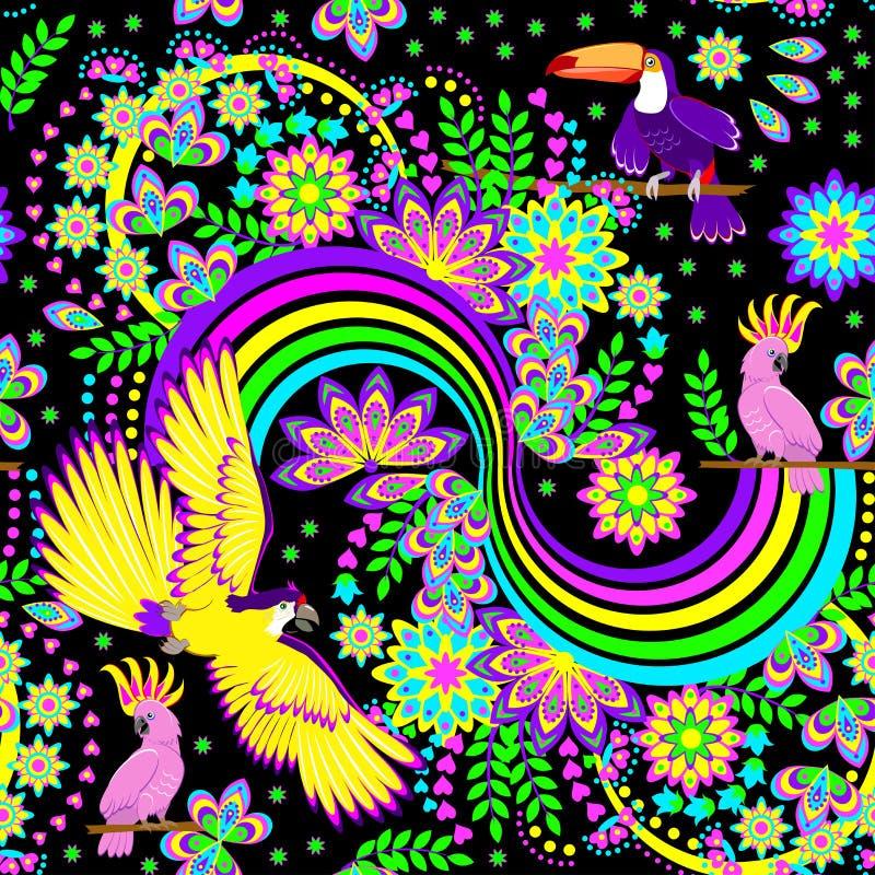 Sömlös modellprydnad med fantasiregnbågen och tropiska fåglar spridda i djungeln på svart bakgrund Modernt tryck stock illustrationer