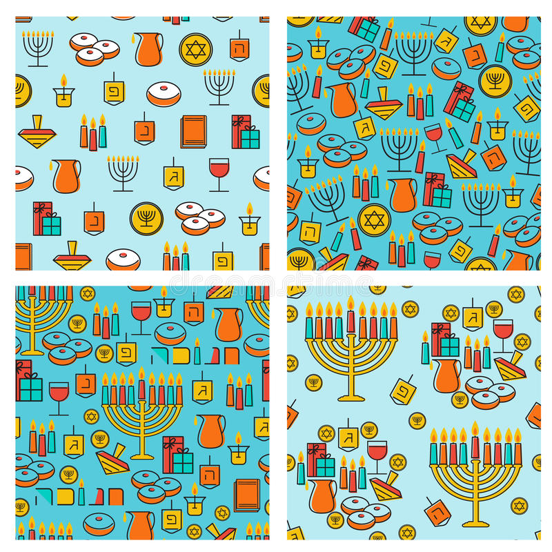 Sömlös modellsamling för Chanukkah Chanukkahsimbols Chanukkahstearinljus, menoror, sufganiot och dreidel stock illustrationer