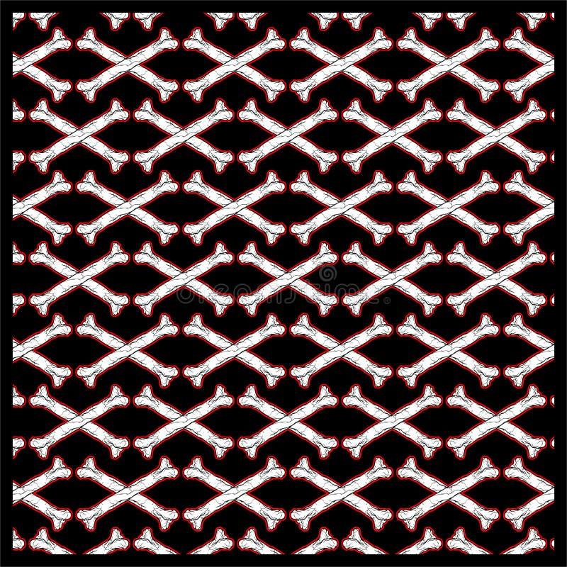 Sömlös modellskallekorslagda benknotor royaltyfri illustrationer