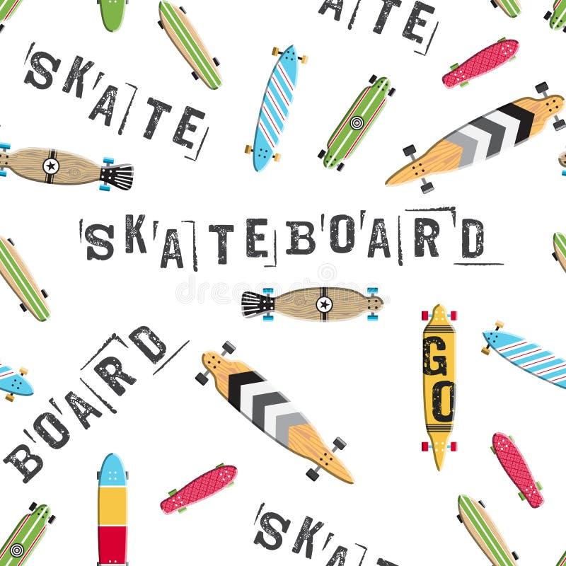 Sömlös modellskateboard och longboards royaltyfri illustrationer