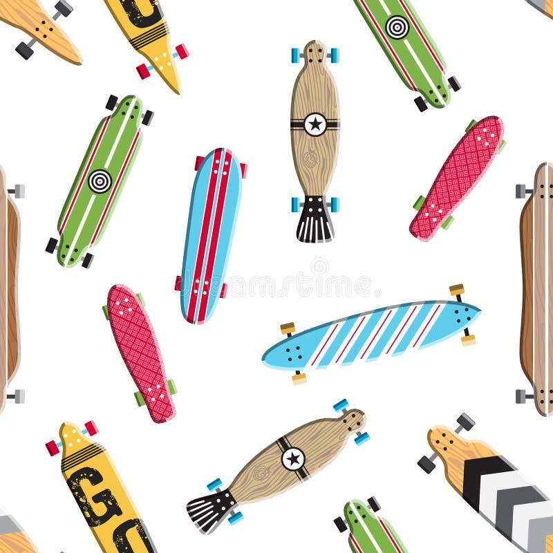 Sömlös modellskateboard och longboards vektor illustrationer