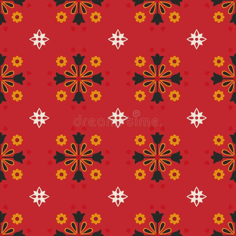 Sömlös modellsvart för geometrisk vektor och gul blomma med röd bakgrund royaltyfri illustrationer