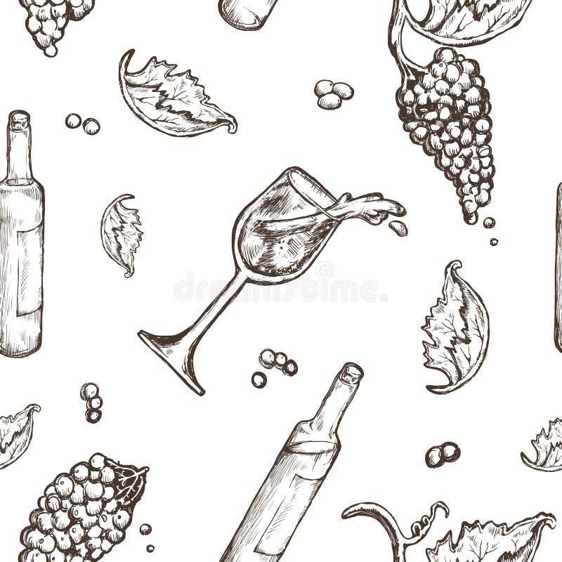 Sömlös modellteckning på ett vitt bakgrundsflask- och vinglasvin med spill Vinrankabären vektor illustrationer