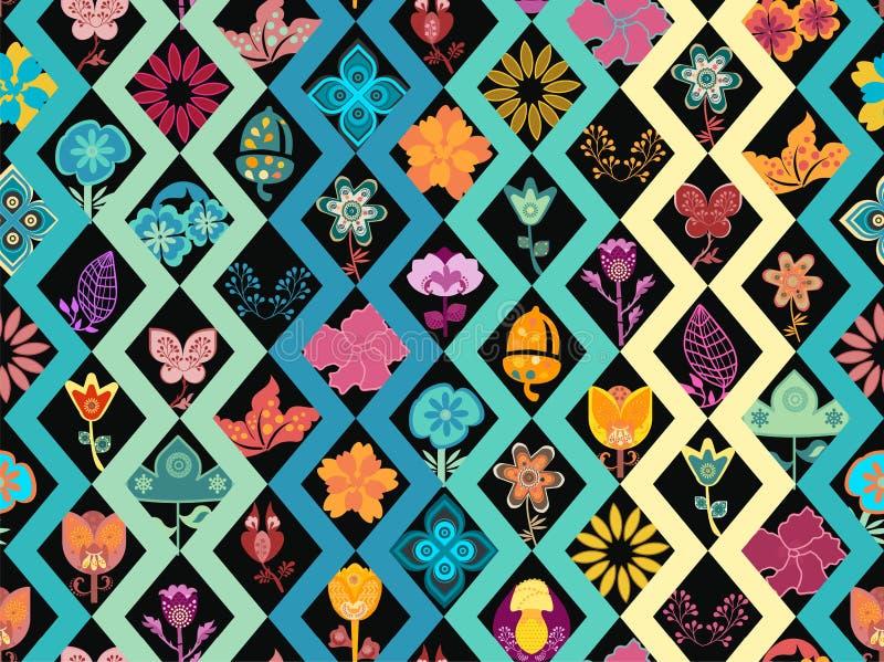 Sömlös modelltegelplatta för färgrika blommor över geometrisk bakgrund stock illustrationer