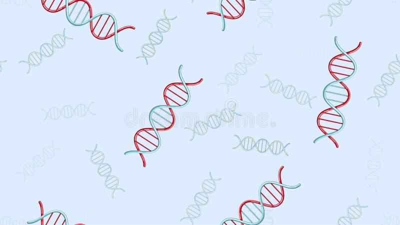 Sömlös modelltextur av ändlösa upprepande medicinska vetenskapliga abstrakta strukturer av modeller för dna-genmolekylar på en bl royaltyfri illustrationer