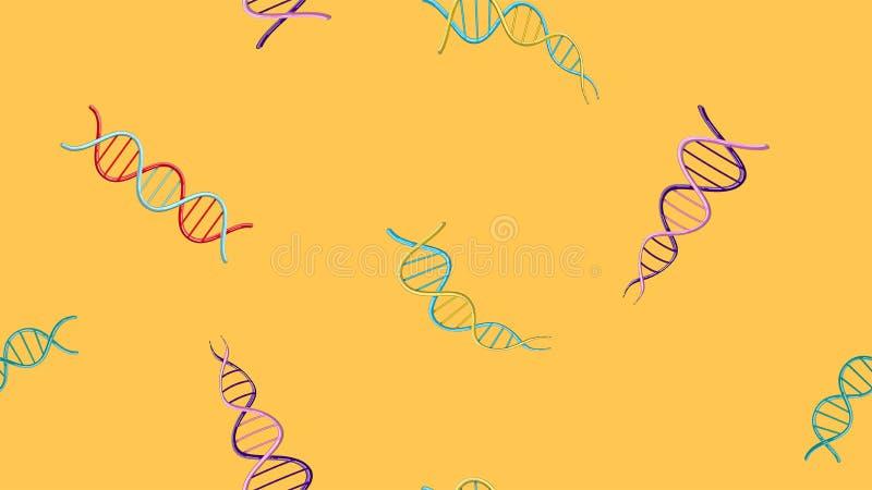 Sömlös modelltextur av ändlösa upprepande medicinska vetenskapliga abstrakta strukturer av modeller för dna-genmolekylar på en gu royaltyfri illustrationer