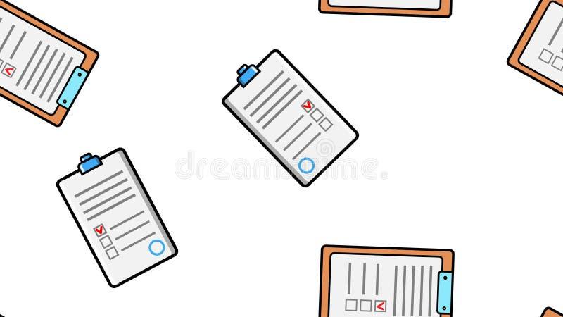 Sömlös modelltextur av ändlösa upprepande pappers- ark av pappers- avtal med minnestavlor för legitimationshandlingar på vit bakg stock illustrationer