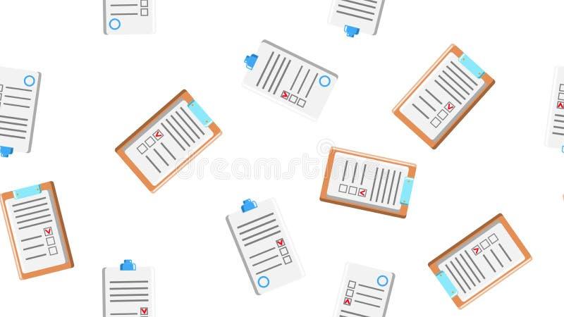 Sömlös modelltextur av ändlösa upprepande pappers- ark av pappers- avtal med minnestavlor för legitimationshandlingar på vit bakg royaltyfri illustrationer