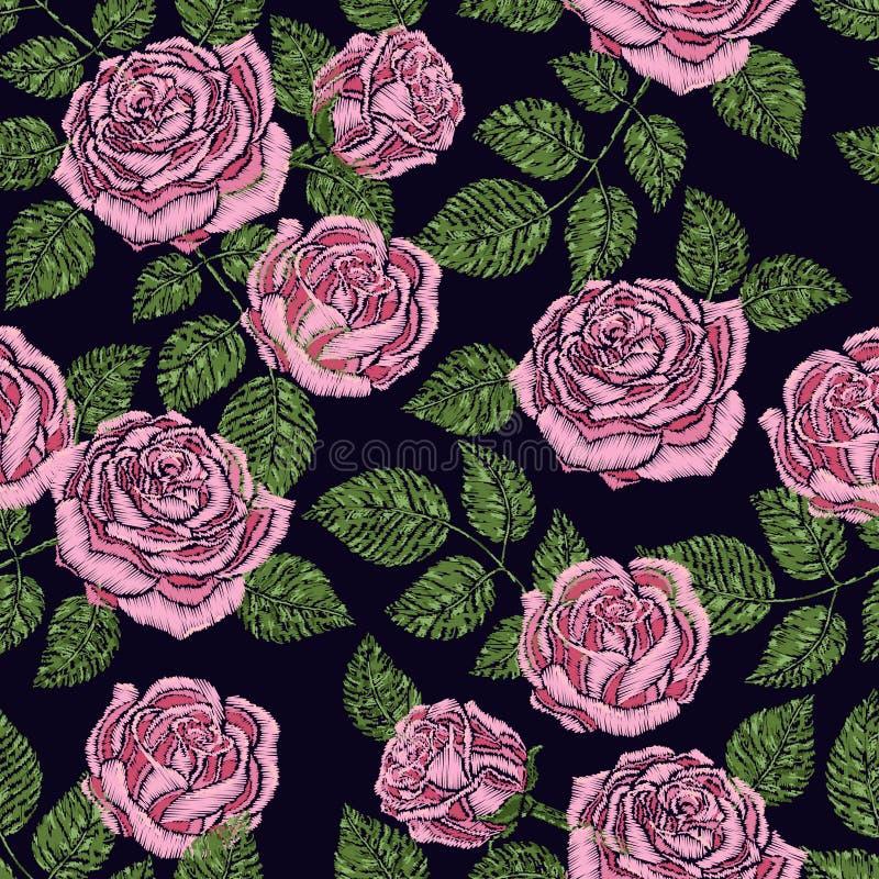 Sömlös modelltextur för broderi, tapet, bakgrund med härliga rosa rosor svart blom- prydnadvektor stock illustrationer