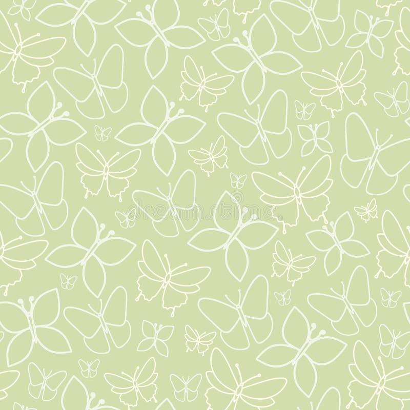 Sömlös modelltextur för rolig grön fjäril vektor illustrationer