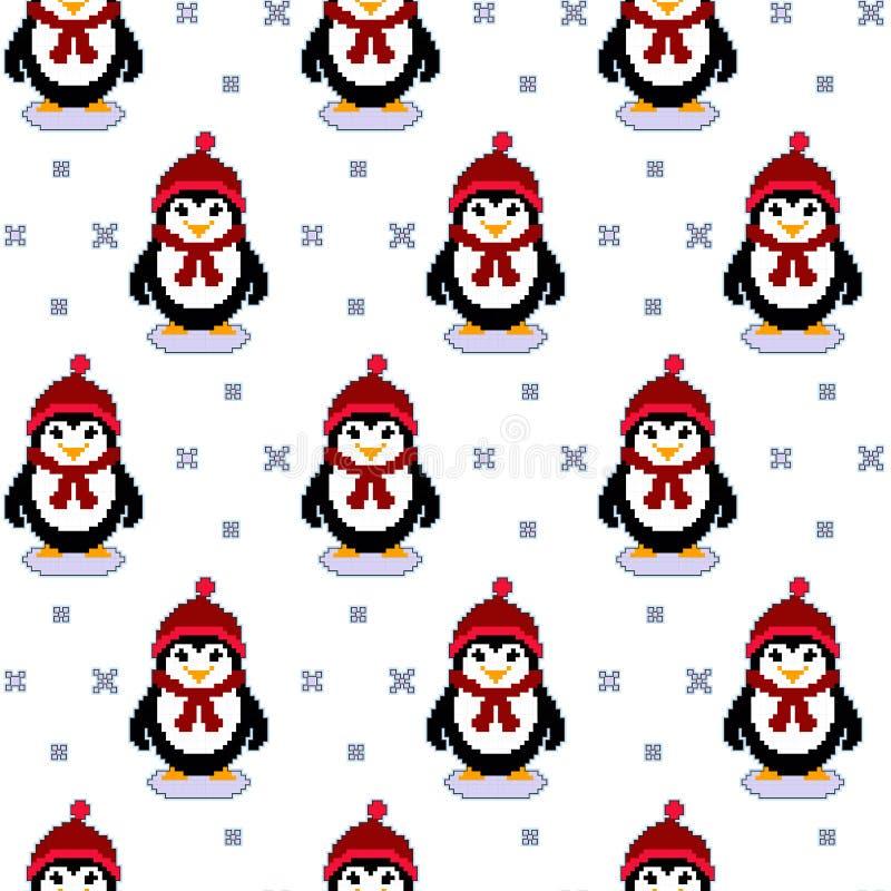 Sömlös modelltextur för vektor med PIXELkonstpingvin och snöflingor Uppsättning för pingvin för vektor för vinterferier gullig stock illustrationer