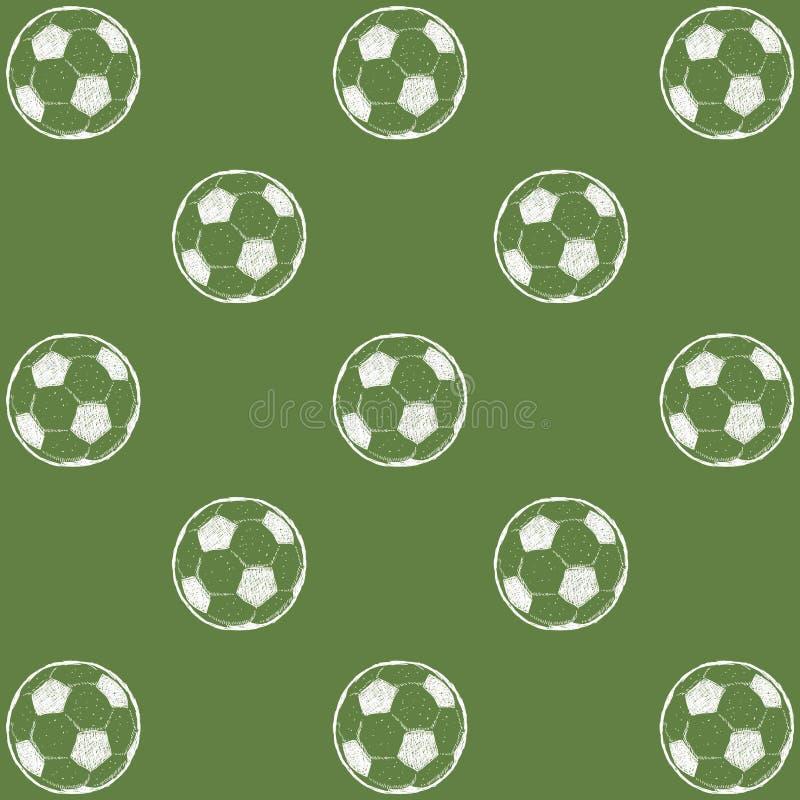 Sömlös modelltextur med fotbollbollar Oändlig bakgrund för fotboll Passande för design: torkduk rengöringsduk, tapet som slår in royaltyfri illustrationer