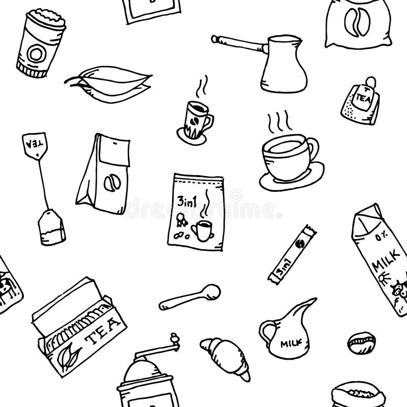 Sömlös modelluppsättning av kaffe och te stock illustrationer