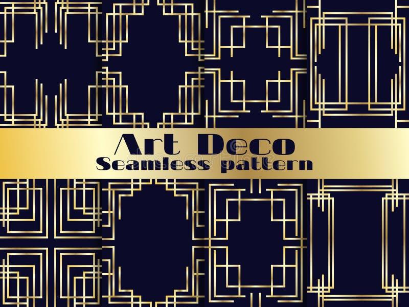 Sömlös modelluppsättning för art déco Tappningbakgrund med guld- lutning Stilen av 20-tal och 30-tal vektor vektor illustrationer