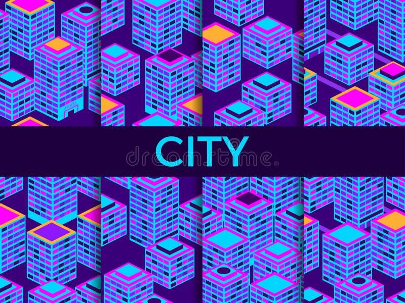 Sömlös modelluppsättning för Cityscape Isometriska skyskrapor, metropolis blå violet vektor stock illustrationer