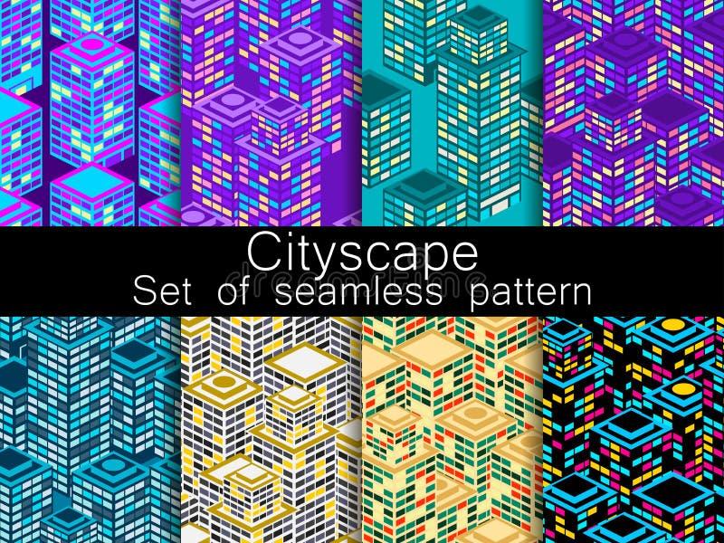 Sömlös modelluppsättning för Cityscape Isometriska stadsbyggnader, metropolis vektor vektor illustrationer