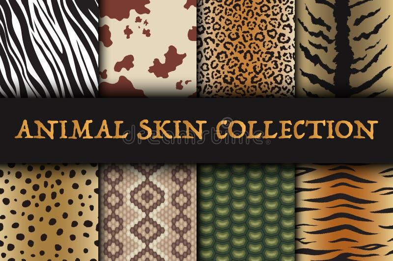 Sömlös modelluppsättning för djur hud Safaritextil av giraffet, tigern, sebran, leoparden, reptilen, kon, ormen och jaguar stock illustrationer