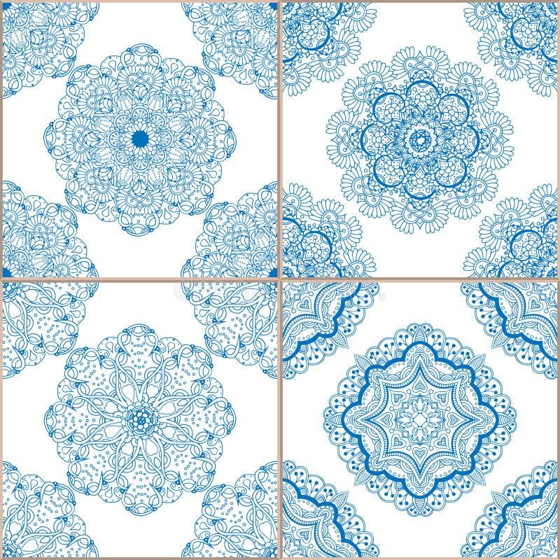 Sömlös modelluppsättning för geometriska tegelplattor royaltyfri illustrationer