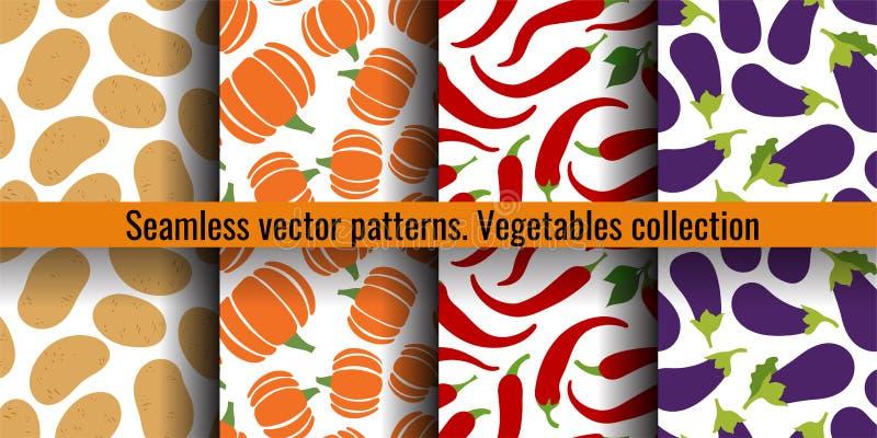 Sömlös modelluppsättning för grönsaker Potatis, pumpa, pepparchili och aubergine Modedesign Mattryck för gardin tecknad hand royaltyfri illustrationer
