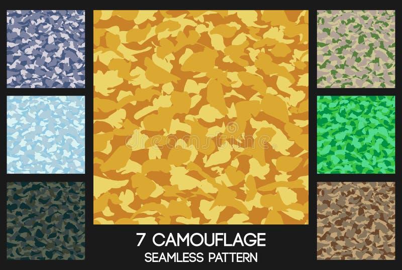 Sömlös modelluppsättning för kamouflage stock illustrationer