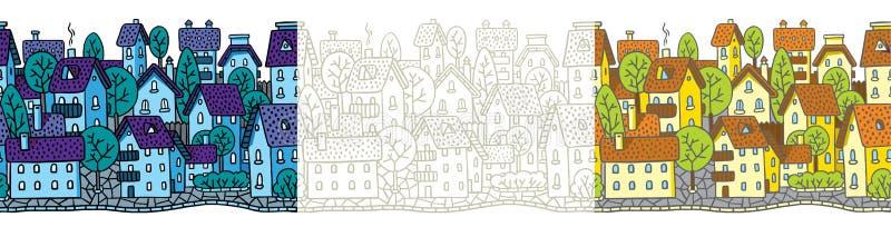 Sömlös modelluppsättning för stad med hus och tak stock illustrationer