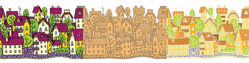 Sömlös modelluppsättning för stad med hus och tak royaltyfri illustrationer