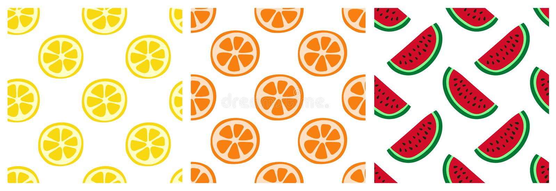 Sömlös modelluppsättning för tropisk frukt Apelsin, citron och vattenmelon Modedesign Mattryck för kläder, linnar eller gardin Ha stock illustrationer